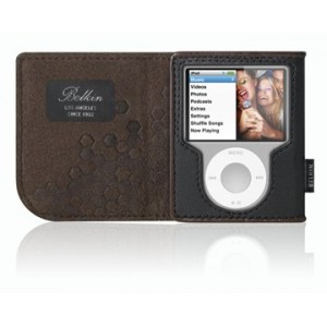 Belkin Leather Folio for iPod nano - Black / Chocolate
